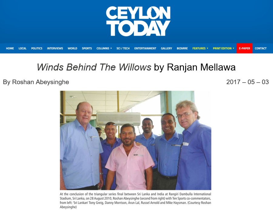 A review of Winds Behind The Willows printed in the Ceylon Times on May 30th, 2017