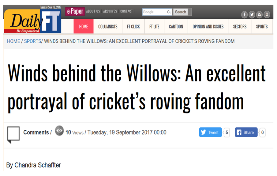 Winds behind the Willows: An excellent portrayal of cricket's roving fandom