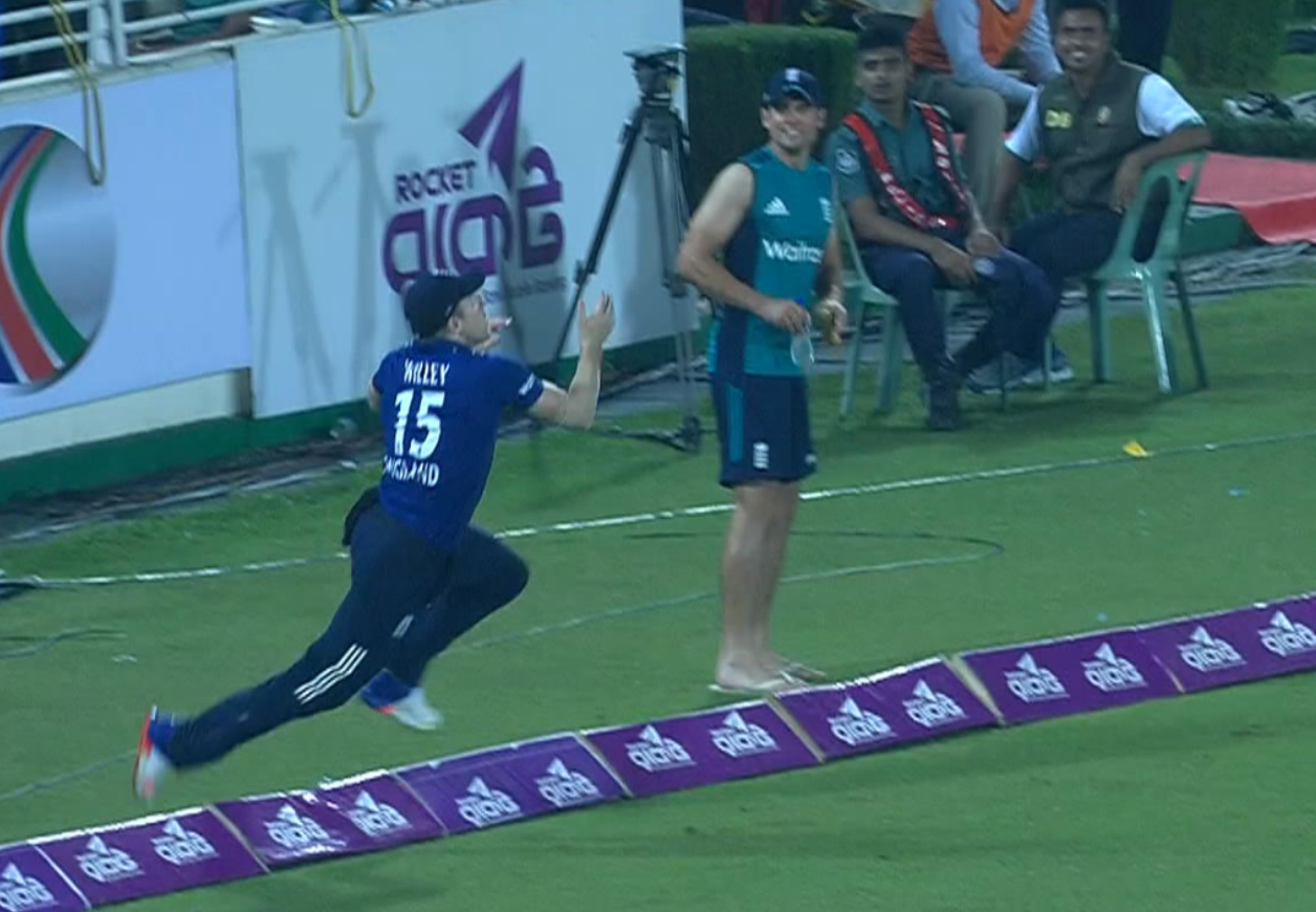 England's David Willey making a spectacular catch