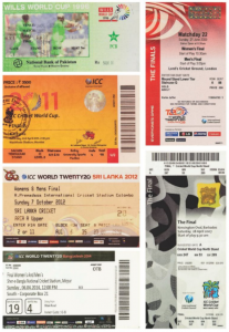 Mellawa's cricket World Cup trophies: tickets to several finals.