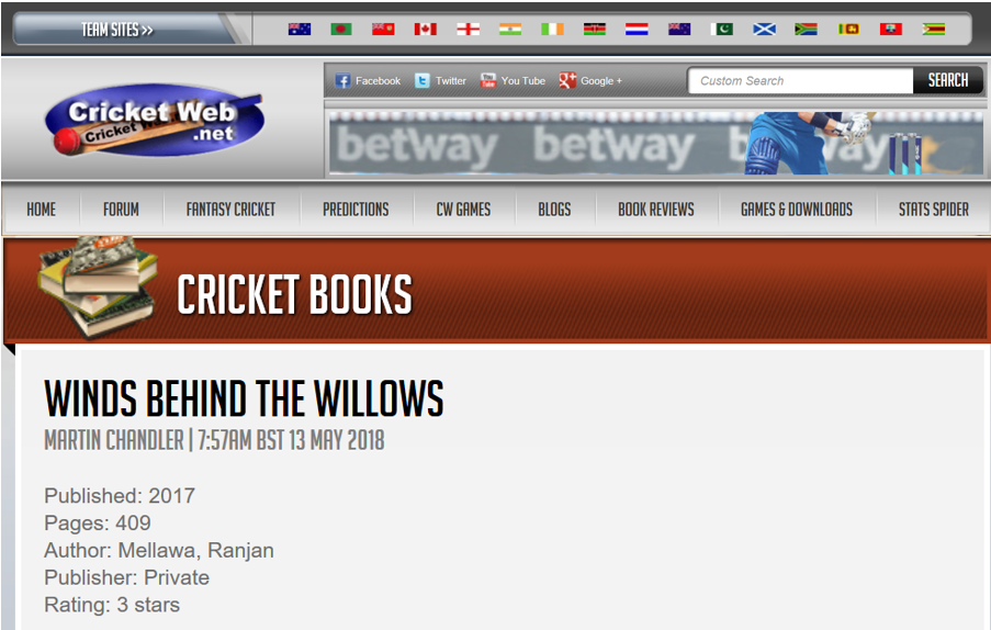 Winds Behind the Willow review at cricketweb.net