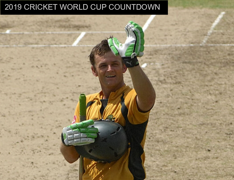 Adam Gilchrist waves to show a squash ball in his left glove at the 2007 Cricket World Cup Final