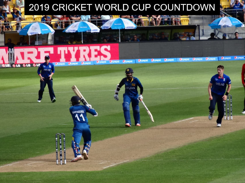 Kumar Sangakkara batting against Chris Woakes (England) in Wellington, New Zealand, during the 2015 ICC Cricket World Cup (© Ranjan Mellawa)