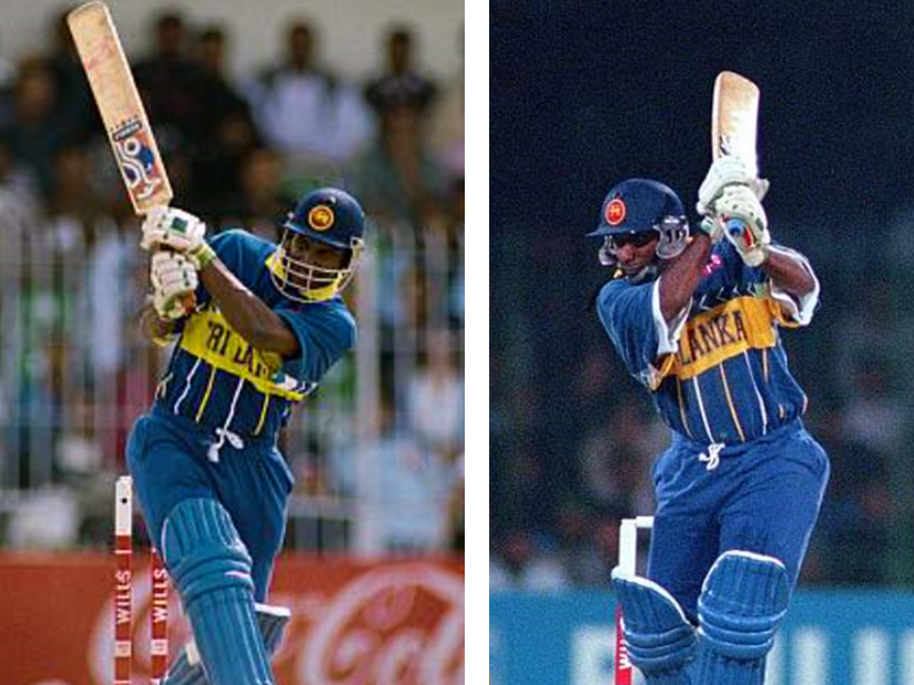 Sanath Jayasuriya and Aravinda de Silva in full cry at the 1996 Wills World Cup.